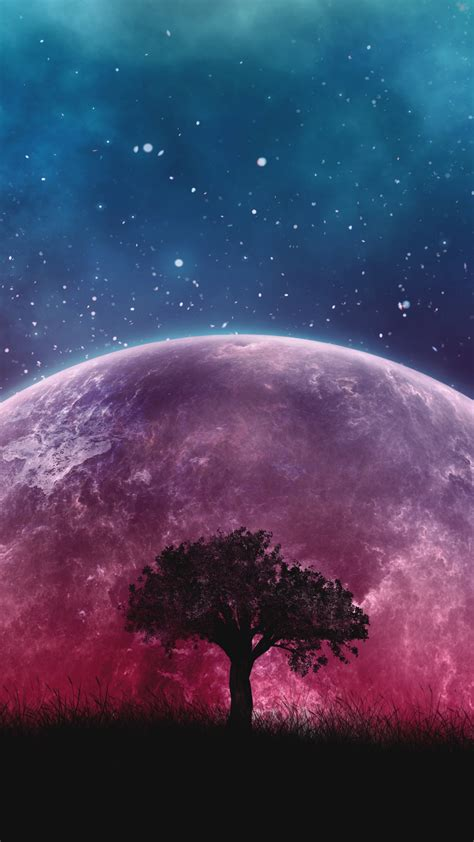 wallpaper planet tree moon galaxy stars  space