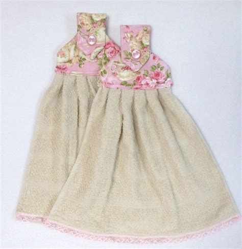 roses and tea shabby chic pink hanging kitchen towels with