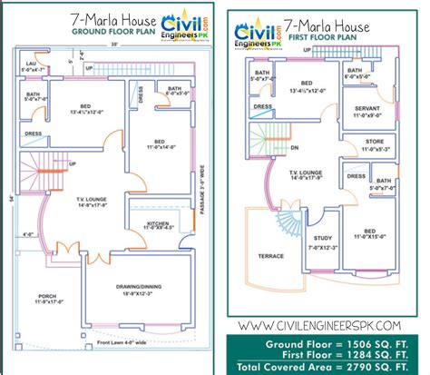 home planning plan 7 marla house civil engineers pk