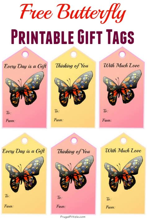 walmart printable gift tags butterfly free printable gift tags set of 6