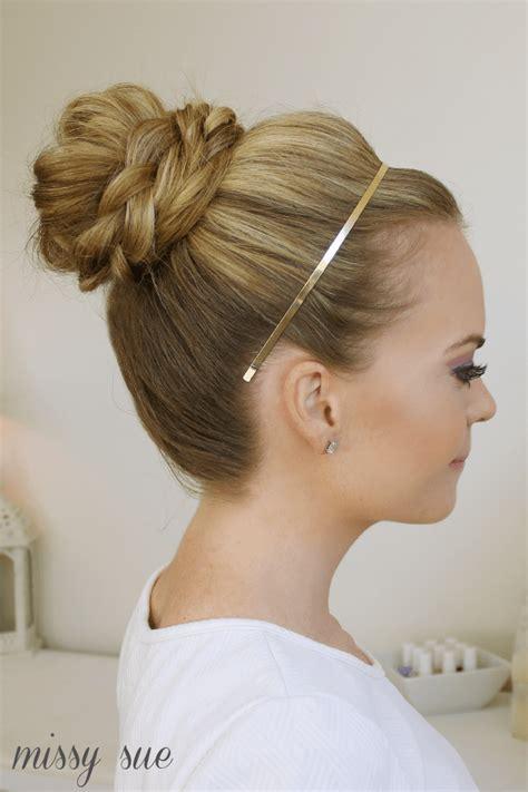 headband braid with a doughnut bun braid wrapped high bun