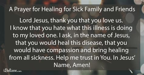 prayer for sick a prayer for healing sick family and friends by wendy eyck prayers