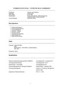 Cv Template Word South Africa by Vivienne Cv World Bank Format 2015