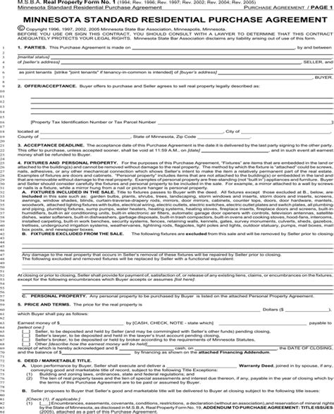 Download Minnesota Standard Residential Purchase Agreement For Free Page 2 Formtemplate Standard Purchase Agreement Template