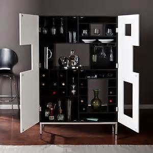 Furniture Wine Bar Cabinet Shadowbox Wine Bar Home Pub Storage Cabinet Modern Furniture Black White Hz1032 Ebay