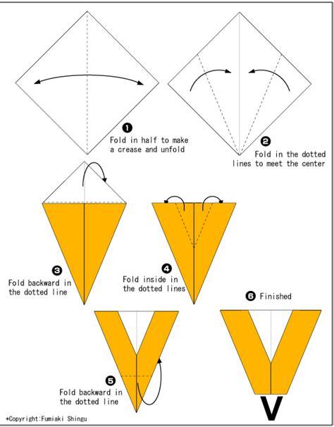 Origami V - origami alphabet v