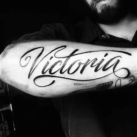 victoria name tattoo design 40 forearm name tattoos for manly design ideas