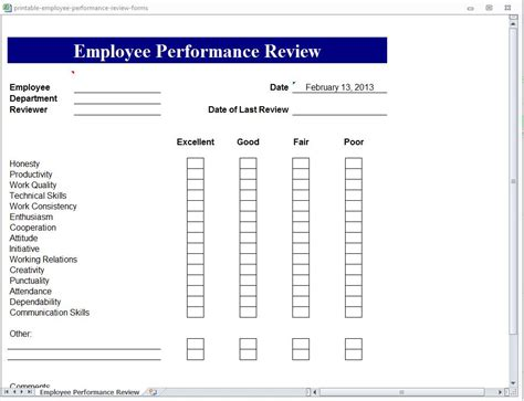 employee review template employee performance review form