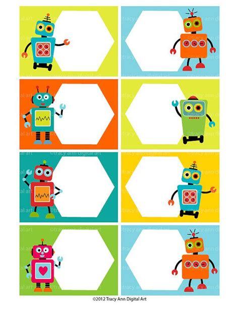 printable labels 2 x 3 robot buffet cards robot tent cards robot birthday