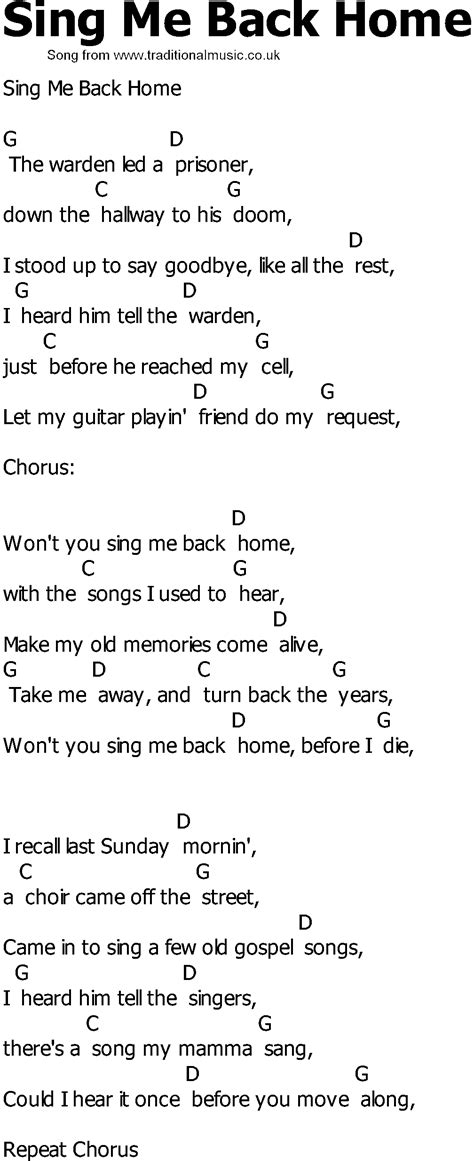country song lyrics with chords sing me back home