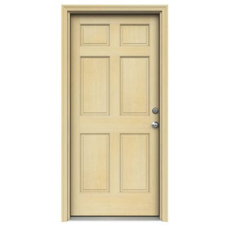 Six Panel Exterior Wood Doors by Jeld Wen 32 In X 80 In 6 Panel Unfinished Wood Prehung