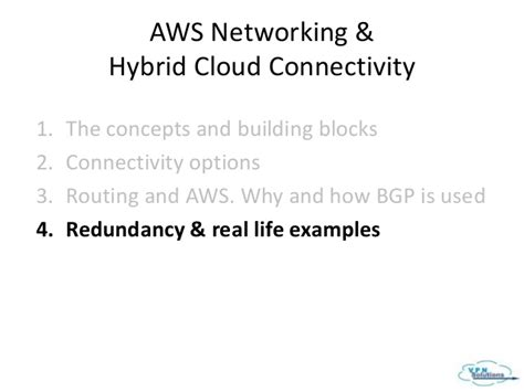 section 4 the building blocks of life aws hybrid cloud connectivity vpn solutions