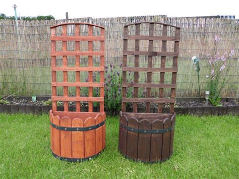 Wooden Planters With Trellis by Wood Wooden Garden Trellis D Top Planter New Ebay