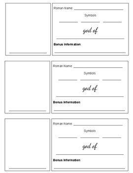 Mythology Trading Cards Template by God Goddess Trading Card Activity Template By
