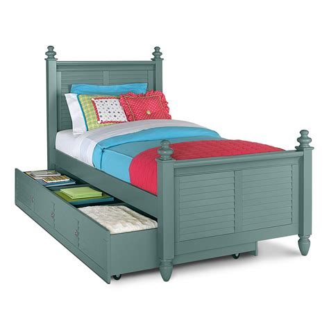 seaside blue kids furniture full bed with trundle value