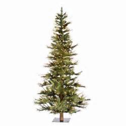 5 ft ashland fir slim pre lit christmas tree with wood
