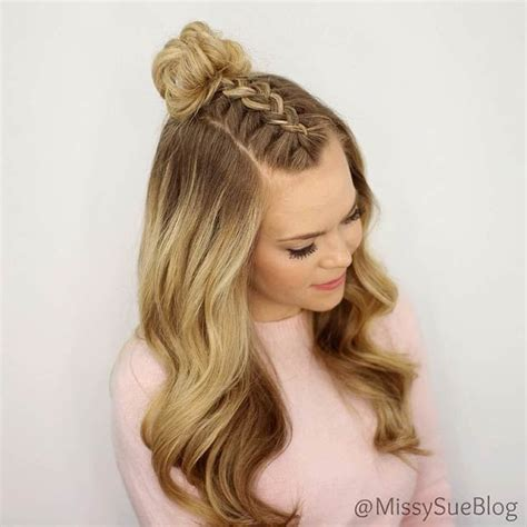 half updo bun hairstyles french braid into messy bun half up half down skill level