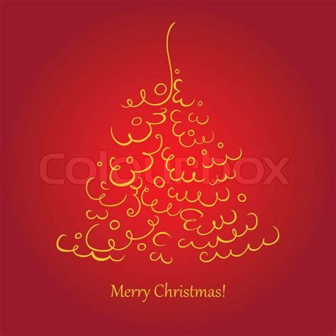 square christmas card   scroll tree stock vector colourbox