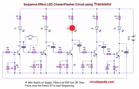 led blinker circuit diagram led flasher chaser circuit with or without ic electronic