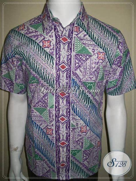 Kemeja Batik Ijo baju batik cap untuk pria ukuran small corak parang warna putih ungu ijo ld340c s toko