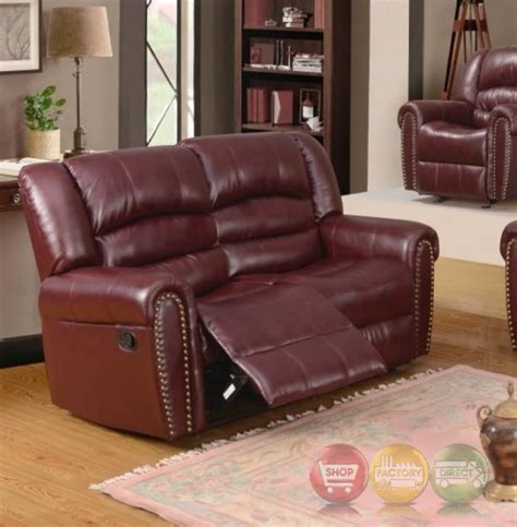 leather reclining sofa with nailhead trim 686 burgundy leather reclining loveseat with nailhead trim