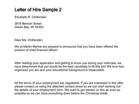 Justification Letter Absence Letter Of Hire