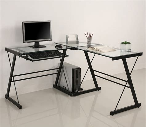 Corner Glass Desk L Shape Glass Corner Computer Desk Contemporary Desks And Hutches By Overstock