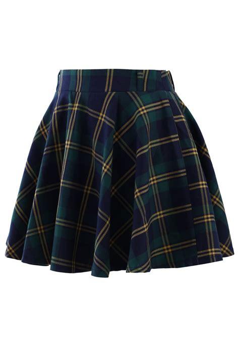 green plaid pleated skirt sheinside