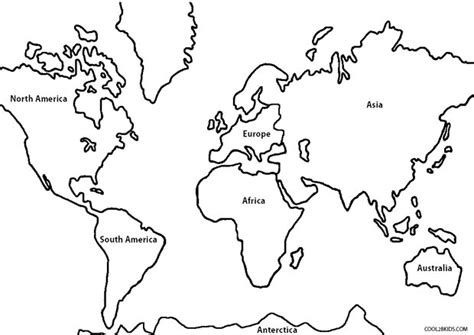 global map coloring page continents coloring pages