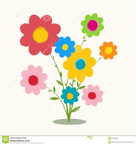retro flat design flowers vector stock vector image 67695990