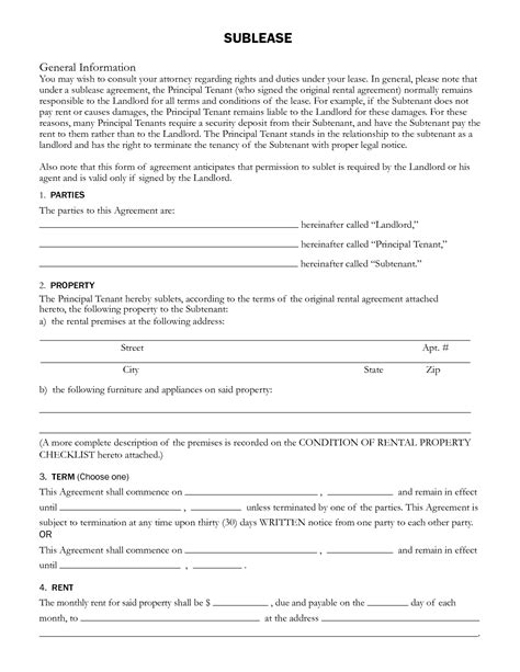 sublet rental agreement sublease general information by
