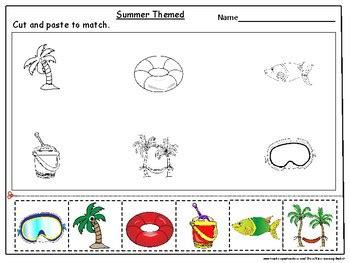 summer cut and paste worksheets summer themed cut and paste activity worksheets by