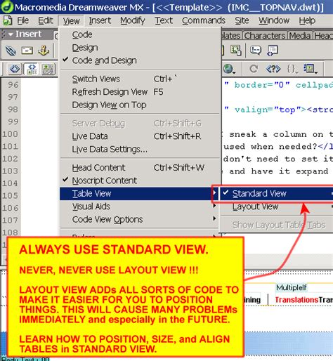 layout html dreamweaver layout view versus standard view in dreamweaver