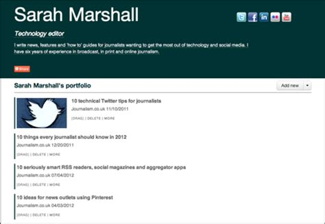 Journalism Portfolio by Five Free Portfolio And Profile Platforms For Journalists