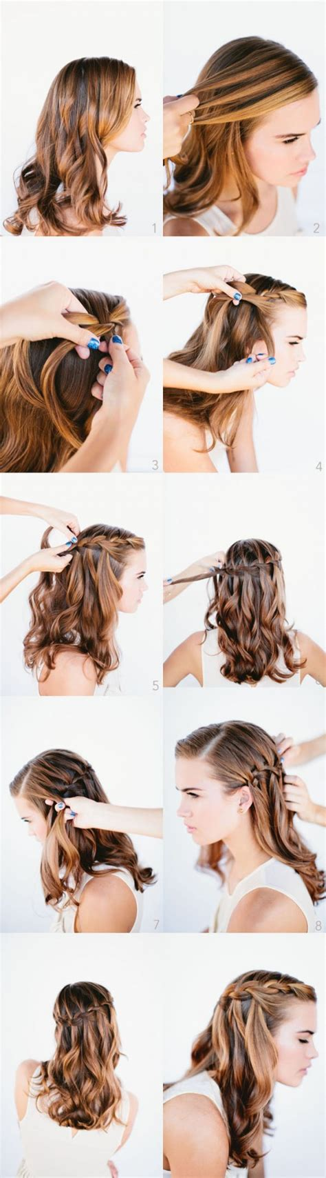 how to do waterfall braid wedding hairstyle long hairs