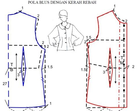 membuat pola baju blus pola blus dengan kerah rebah