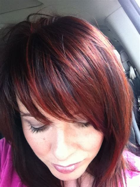 brunette red hairstyles brunette with red highlights short hairstyle 2013