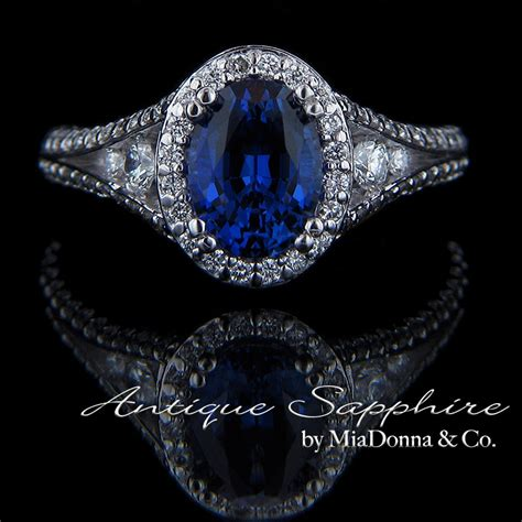 antique blue sapphire engagement ring by miadonna