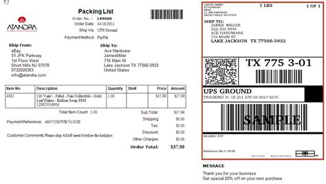 box label template integrated packing list and shipping labels that peel out