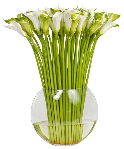 Flat Flower Vase by Large Faux Cala In Flat Fish Bowl Vase Traditional