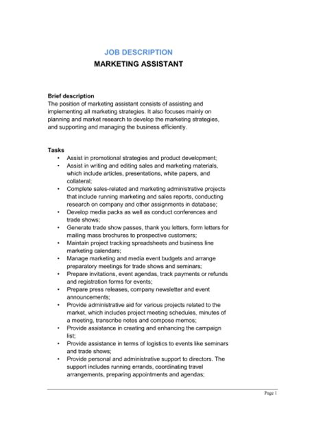 Marketing Assistant Description Template Marketing Assistant Job Description Template Sle Form Biztree Com