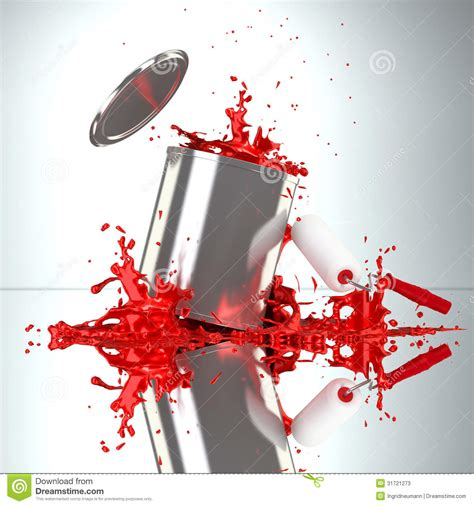 paint can with roller brush and splash stock photos image 31721273