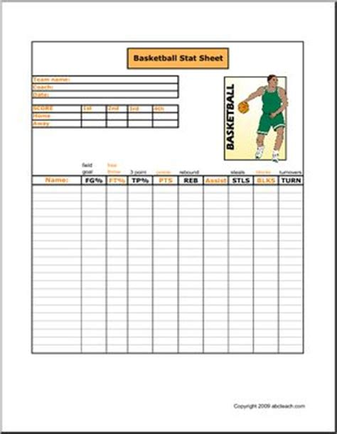 basketball card stats template 9 best images about youth basketball score sheets on