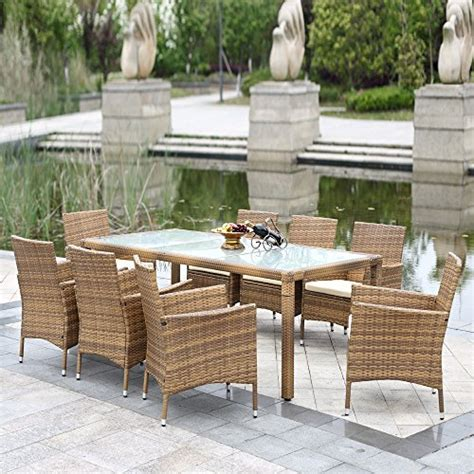 Rattan Patio Dining Set Ikayaa 9pcs Outdoor Dining Set Wicker Patio Table And Chairs Furniture Set Home Patio And