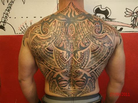 full back tribal tattoo back