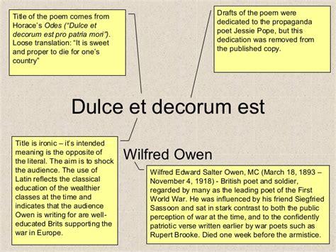 Wilfred Owen Dulce Et Decorum Est Essay by Rupert And Wilfred Owen Essay The Rupert Society