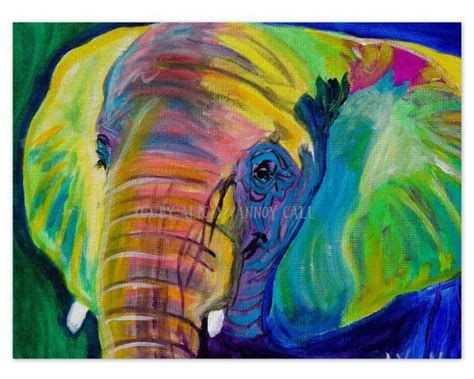 free animal painting colorful elephant animal print 20x30 from dawgpainter