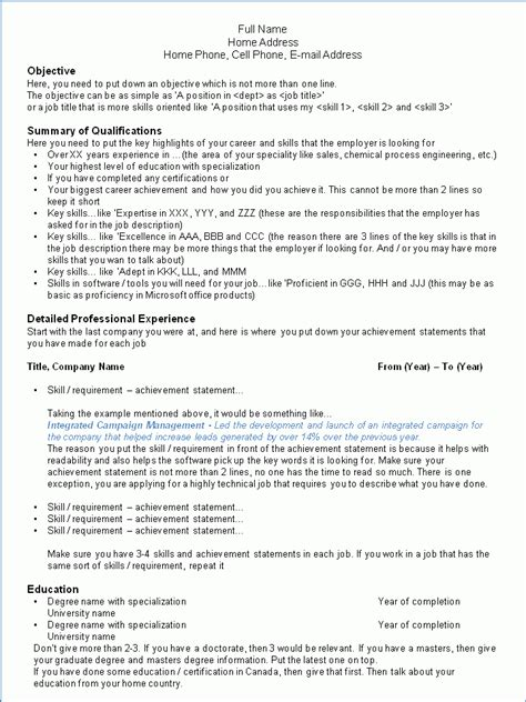 resume format used in canada your resume success in canada