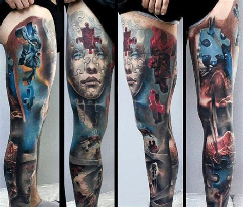 full leg tattoo designs 50 3d leg designs for manly ink ideas