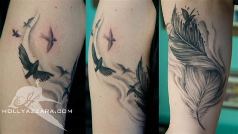 feather with birds tattoo feather images designs